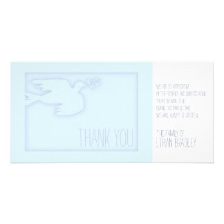 Blue Modern Dove - Custom Sympathy Thank You Card Photo Card