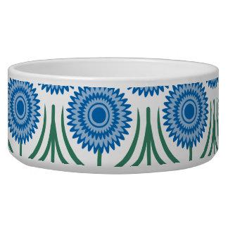 Blue Modern Floral Pattern-White Pet Food Bowls