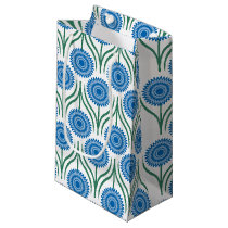 Blue Modern Floral Pattern-White Small Gift Bag