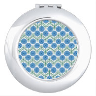 Blue Modern Floral Pattern-White Vanity Mirror