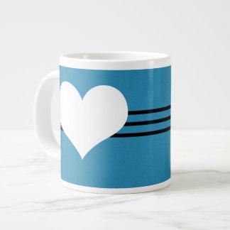 Blue Modern Heart Jumbo Mug