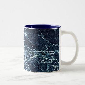 Blue modern marble pattern Two-Tone coffee mug