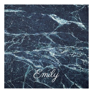 Art Themed Blue modern marble Personalized Name Panel Wall Art