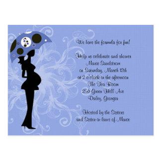 Blue Modern Mom with Umbrella Post Card