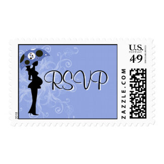 Blue Modern Mom with Umbrella RSVP Postage