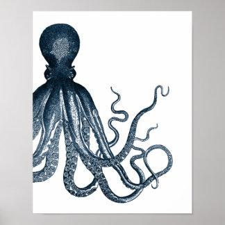 Blue Modern Octopus Poster