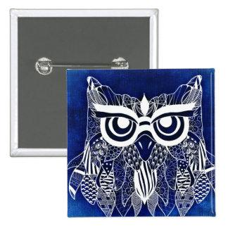 Blue Modern Owl Button