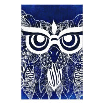 Blue Modern Owl Flyer