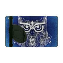 Blue Modern Owl iPad Cover