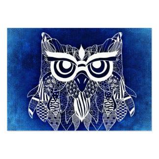 Blue Modern Owl Large Business Card