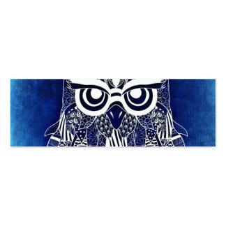 Blue Modern Owl Mini Business Card
