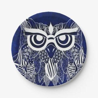 Blue Modern Owl Paper Plate