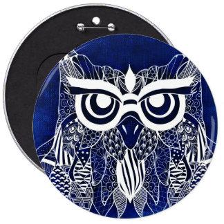 Blue Modern Owl Pinback Button