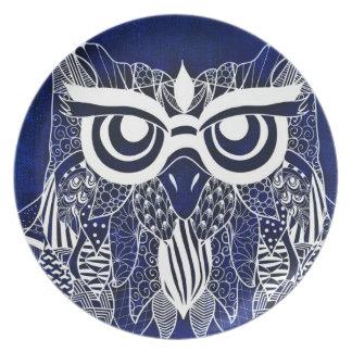 Blue Modern Owl Plate