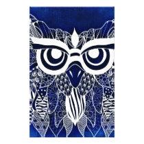 Blue Modern Owl Stationery