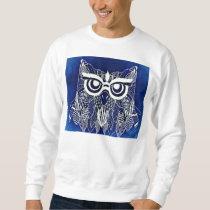 Blue Modern Owl Sweatshirt