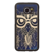 Blue Modern Owl Wood Phone Case