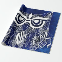 Blue Modern Owl Wrapping Paper
