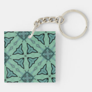 Blue modern pattern Double-Sided square acrylic keychain