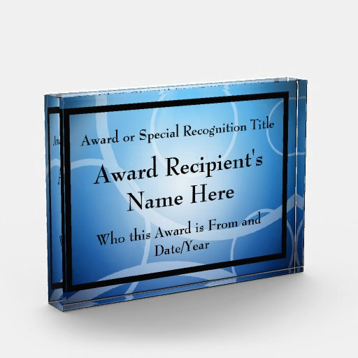 Blue Modern Personalized Acrylic Award Plaque