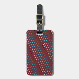 Blue modern polka dots luggage tag