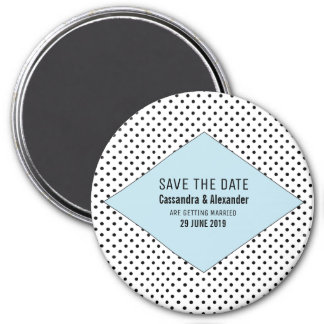 Blue Modern Polka Dots Save the Date Magnet