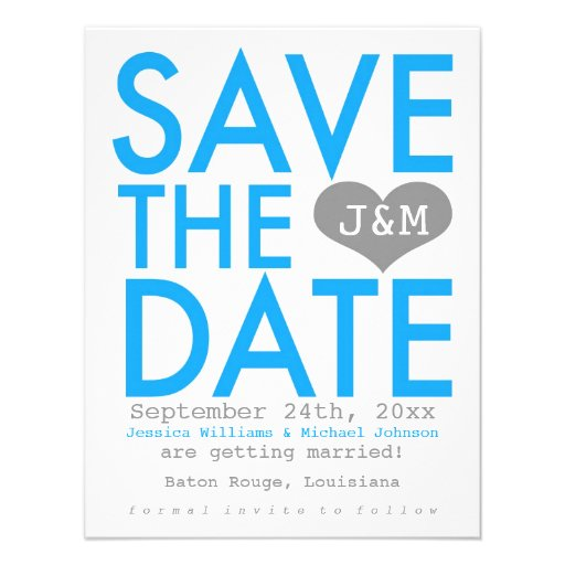 Blue Modern Save the Date Invitations