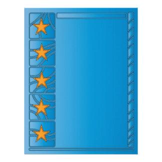 Blue modern scrapbook paper design with stars letterhead template
