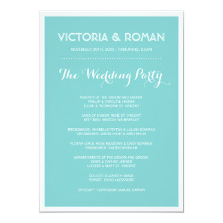 Blue Modern Simple Wedding Programs