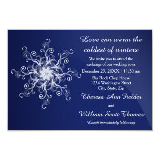 Blue Modern Snowflake - 3x5 Wedding Invitation