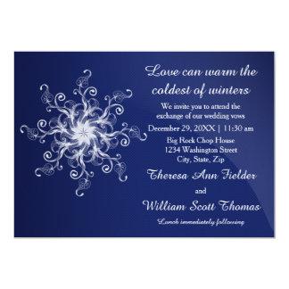 Blue Modern Snowflake Wedding Invitation