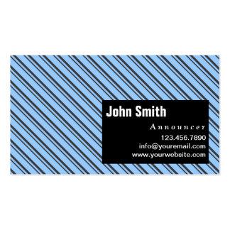 Blue Modern Stripes Announcer Business Card