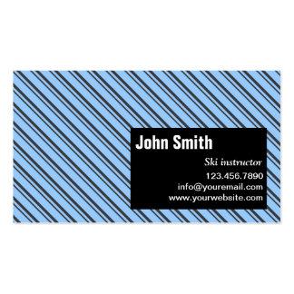 Blue Modern Stripes Ski Business Card