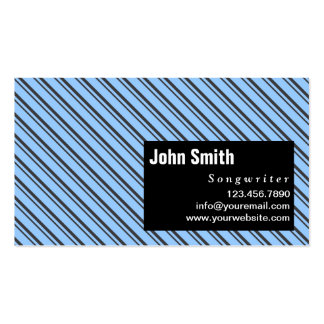 Blue Modern Stripes Songwriter Business Card