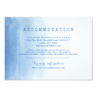Blue modern watercolor beach wedding accommodation card