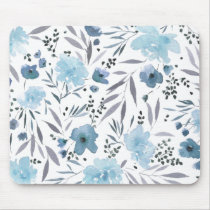 blue modern watercolor flowers mouse pad