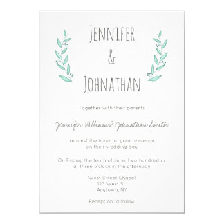 Blue modern wreath wedding invitations