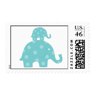 Blue Mom and Baby Elephant Postage