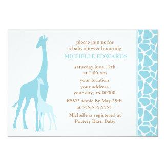 Blue Mom and Baby Giraffe Baby Shower 5x7 Paper Invitation Card