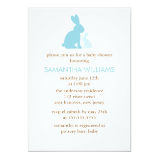 Blue Mom and Baby Rabbit Baby Shower Card