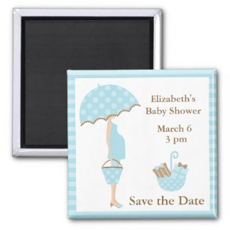 Blue Mom to be with Umbrella Magnet