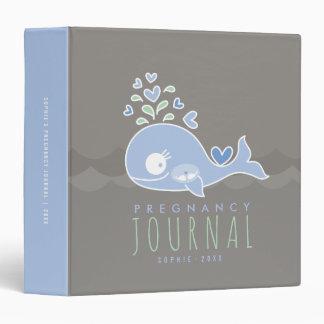 Blue Mom Whale Twin Boys Pregnancy Journal Binder