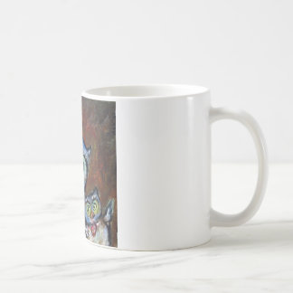 Blue momma owl & baby love painting coffee mug