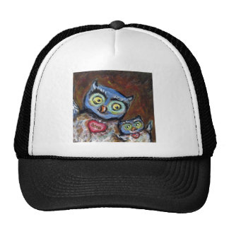 Blue momma owl & baby love painting trucker hat