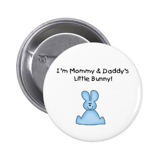 Blue Mommy and Daddy's Little Bunny T-shirts Buttons