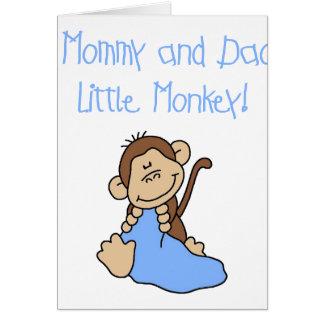 Blue Mommy and Daddy's Monkey Card