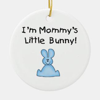 Blue Mommy's Little Bunny T-shirts and Gifts Double-Sided Ceramic Round Christmas Ornament