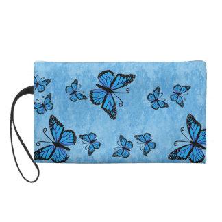 Blue Monarch Butterflies Wristlette Bag Wristlet