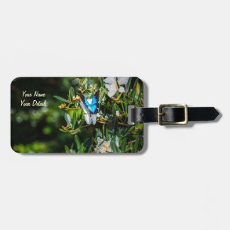 Blue Monarch Butterfly on Flowers Bag Tag