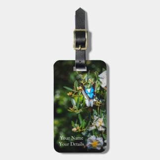 Blue Monarch Butterfly on Flowers Luggage Tag